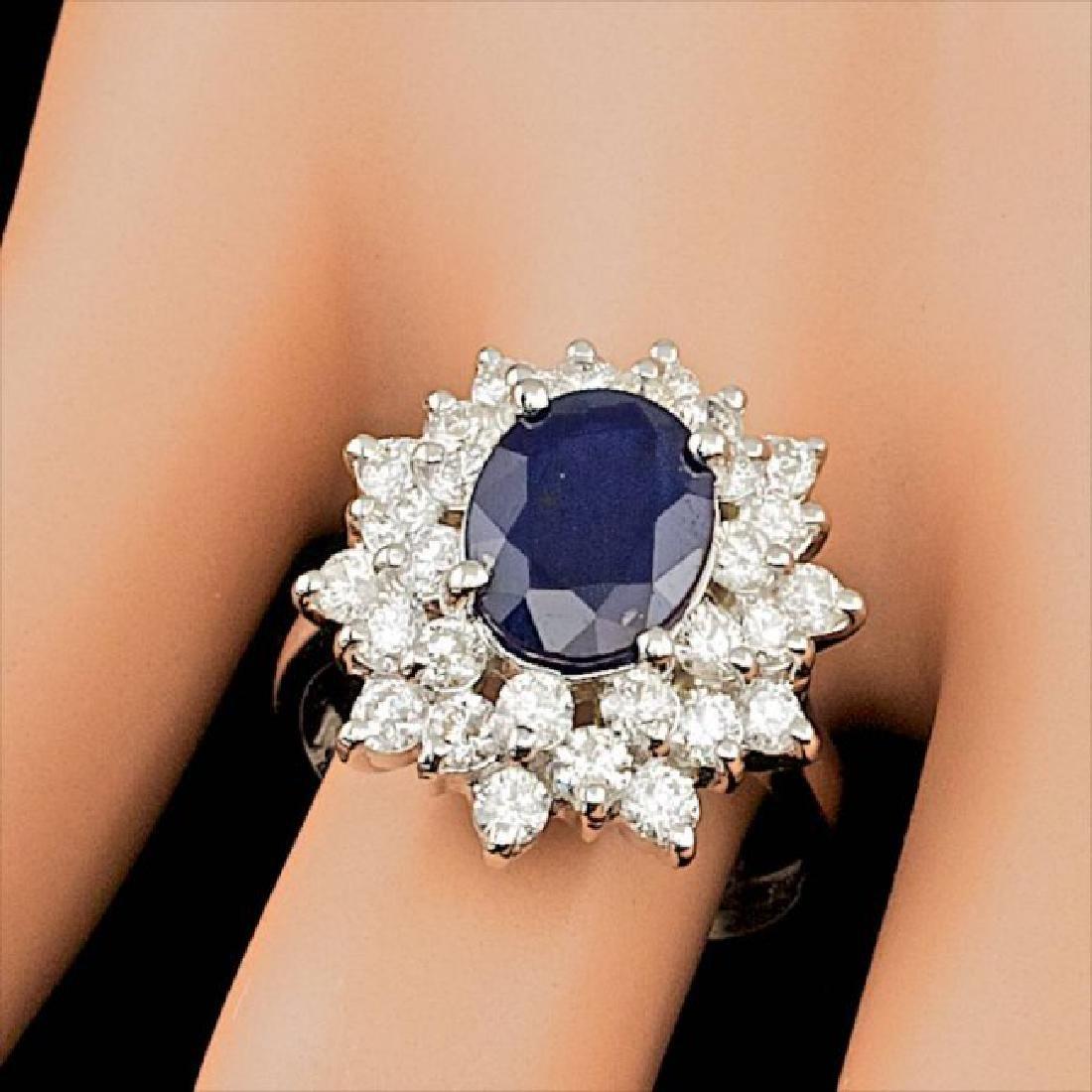14k Gold 3.30ct Sapphire 1.74ct Diamond Ring - 4