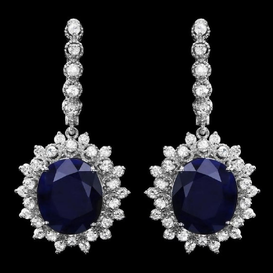 14k Gold 14ct Sapphire 2.00ct Diamond Earrings