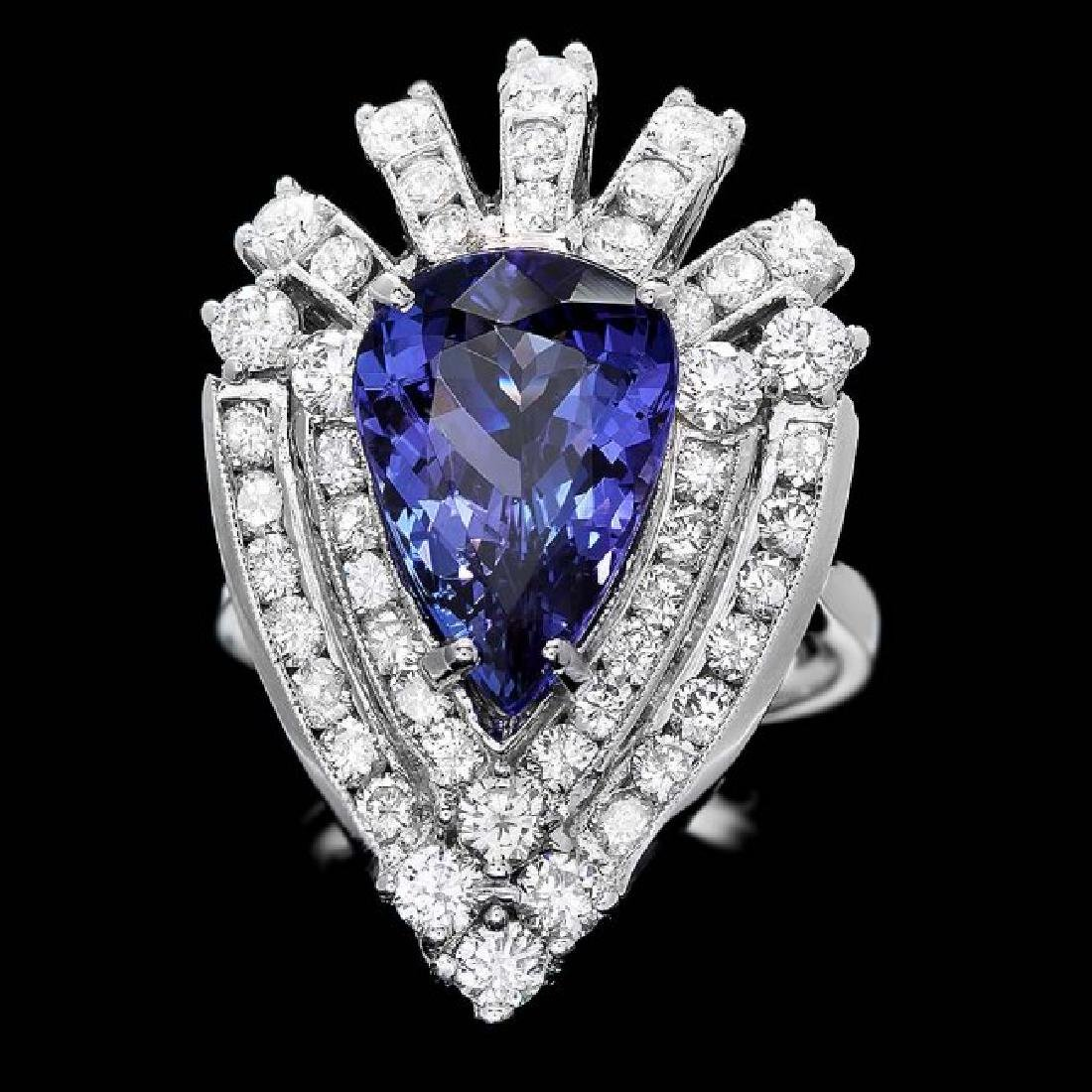 14k Gold 4.50ct Tanzanite 2.30ct Diamond Ring