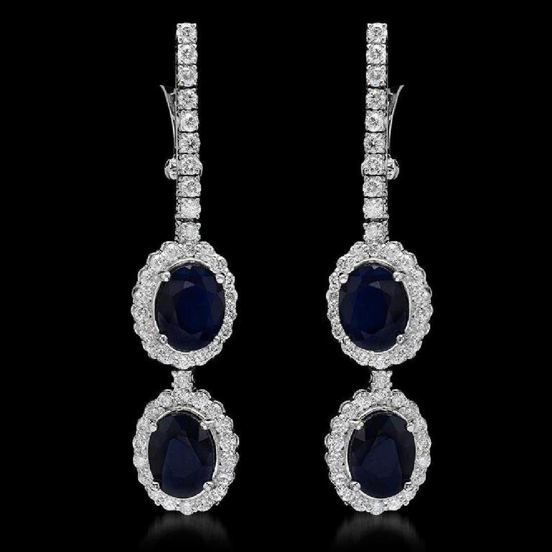 14K Gold 6.98ct Sapphire 1.95ct Diamond Earrings