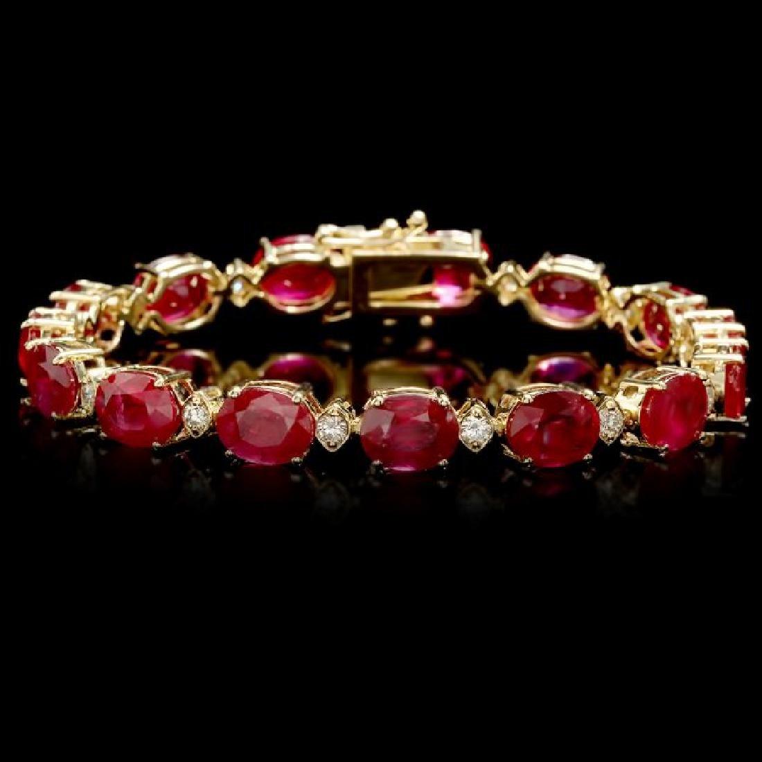 14k Gold 34.50ct Ruby 1.15ct Diamond Bracelet