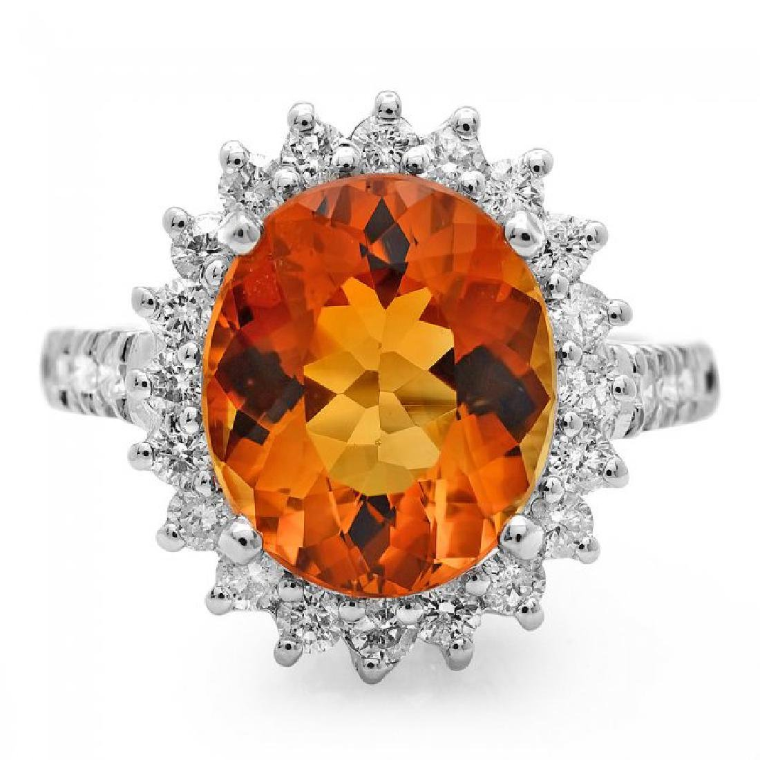 14k White Gold 5.00ct Citrine 1.05ct Diamond Ring - 2