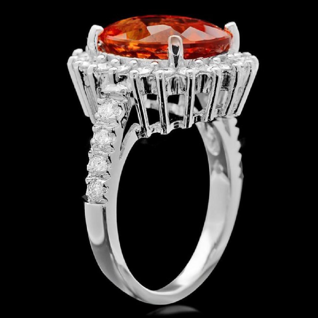 14k White Gold 5.00ct Citrine 1.05ct Diamond Ring - 3