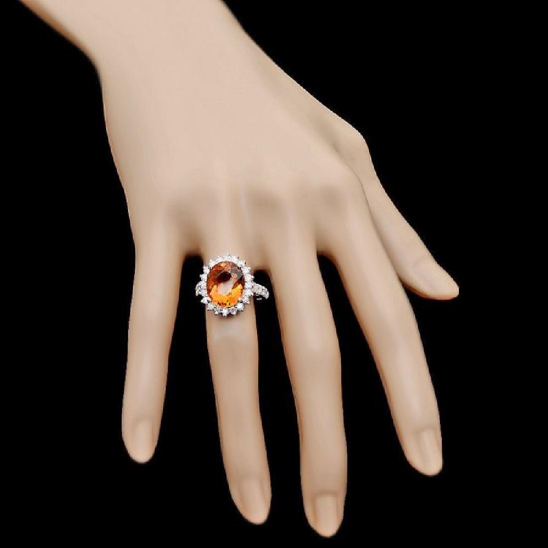 14k White Gold 5.00ct Citrine 1.05ct Diamond Ring - 4