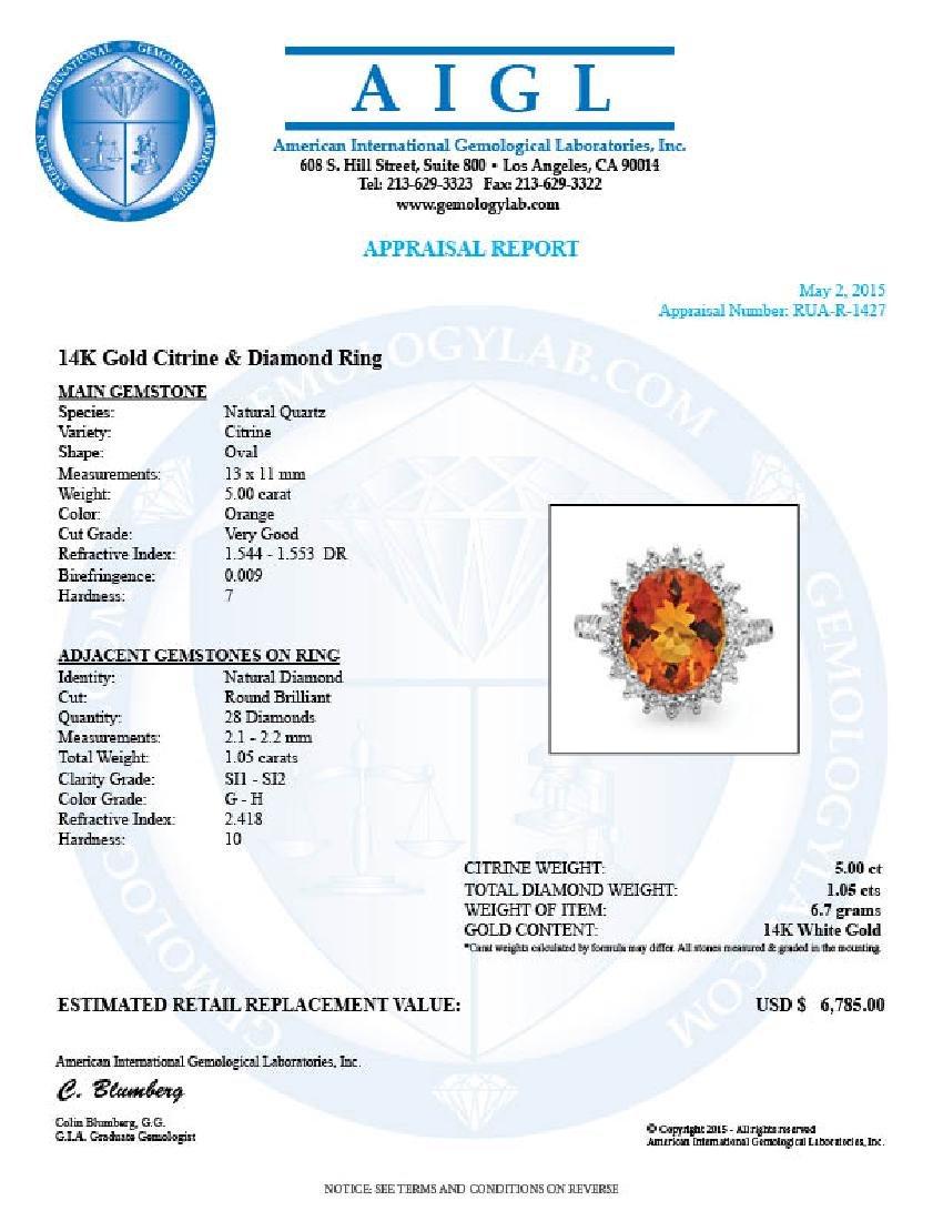 14k White Gold 5.00ct Citrine 1.05ct Diamond Ring - 5