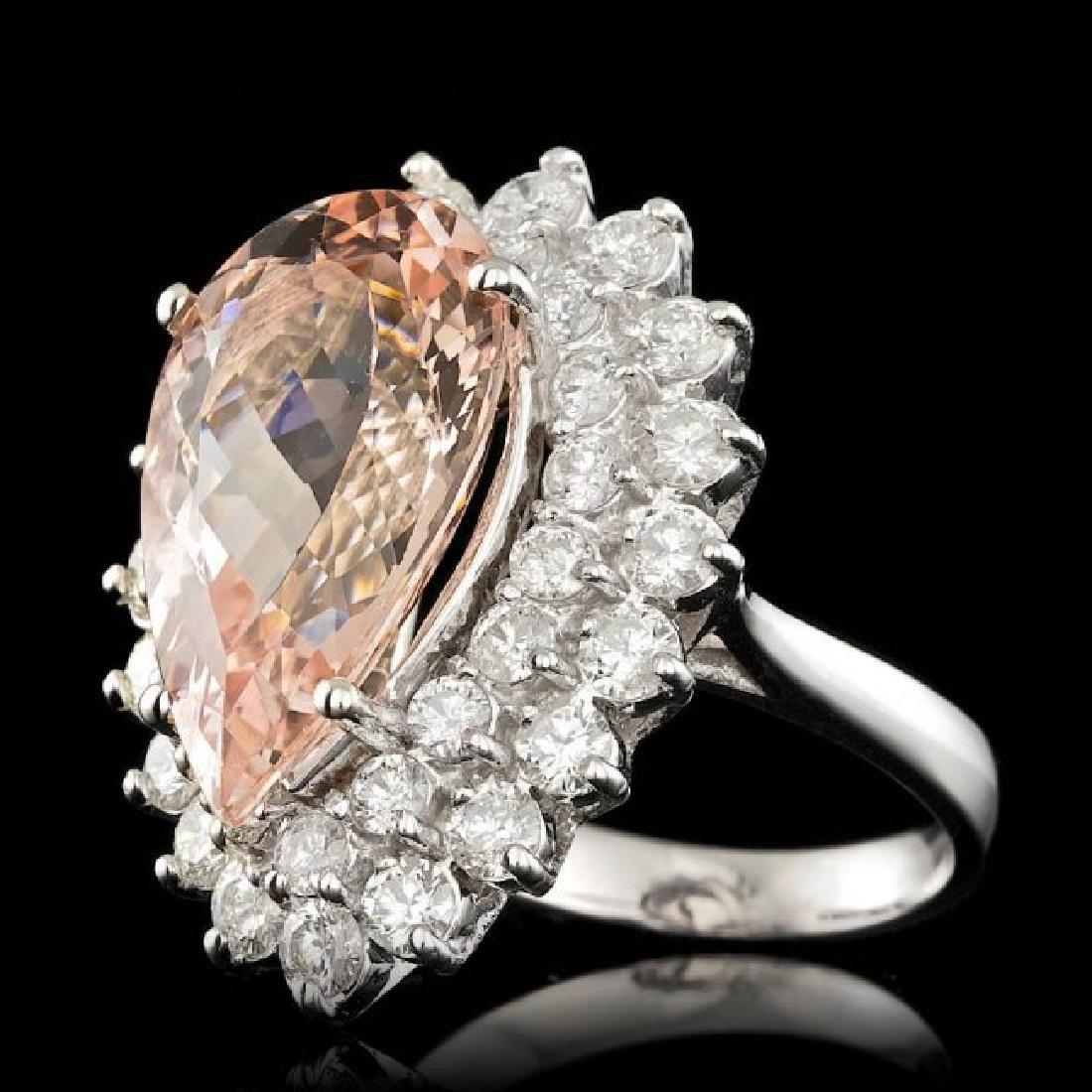 14k Gold 8.00ct Morganite 2.35ct Diamond Ring - 2