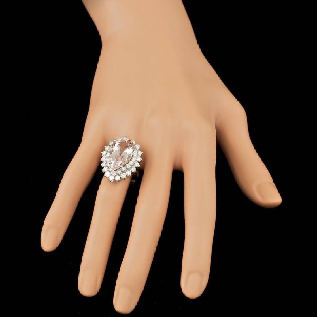 14k Gold 8.00ct Morganite 2.35ct Diamond Ring - 3