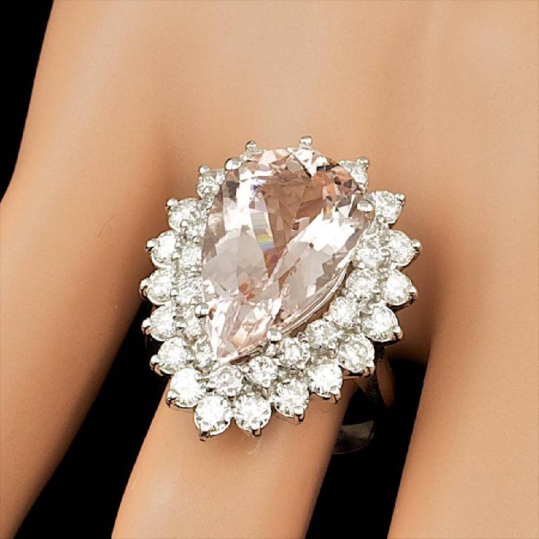 14k Gold 8.00ct Morganite 2.35ct Diamond Ring - 4