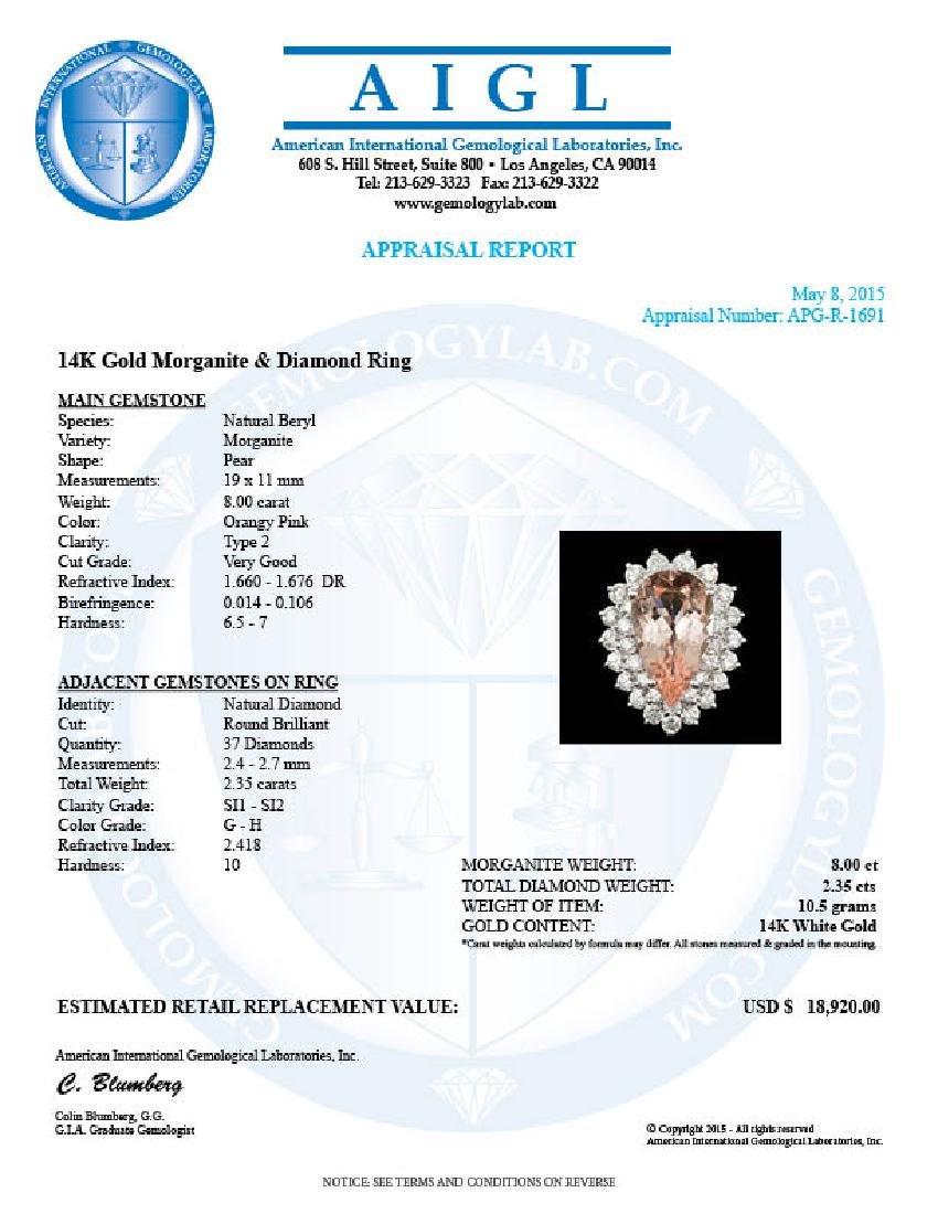 14k Gold 8.00ct Morganite 2.35ct Diamond Ring - 5