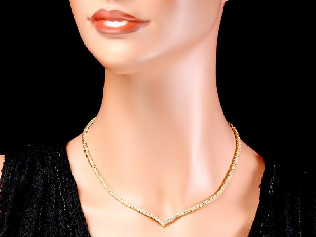 18k Yellow Gold 8.50ct Diamond Necklace - 4