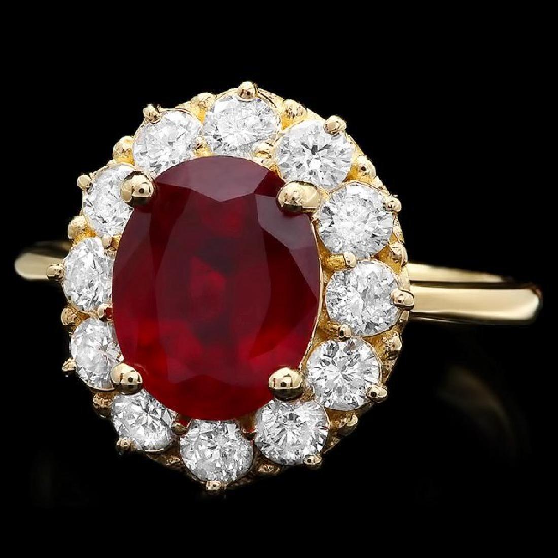 14k Yellow Gold 3.61ct Ruby 1.05ct Diamond Ring