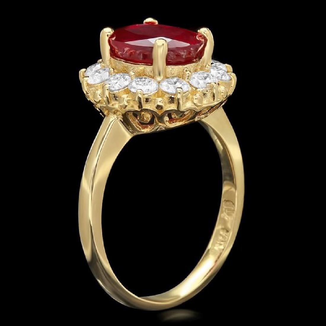 14k Yellow Gold 3.61ct Ruby 1.05ct Diamond Ring - 2