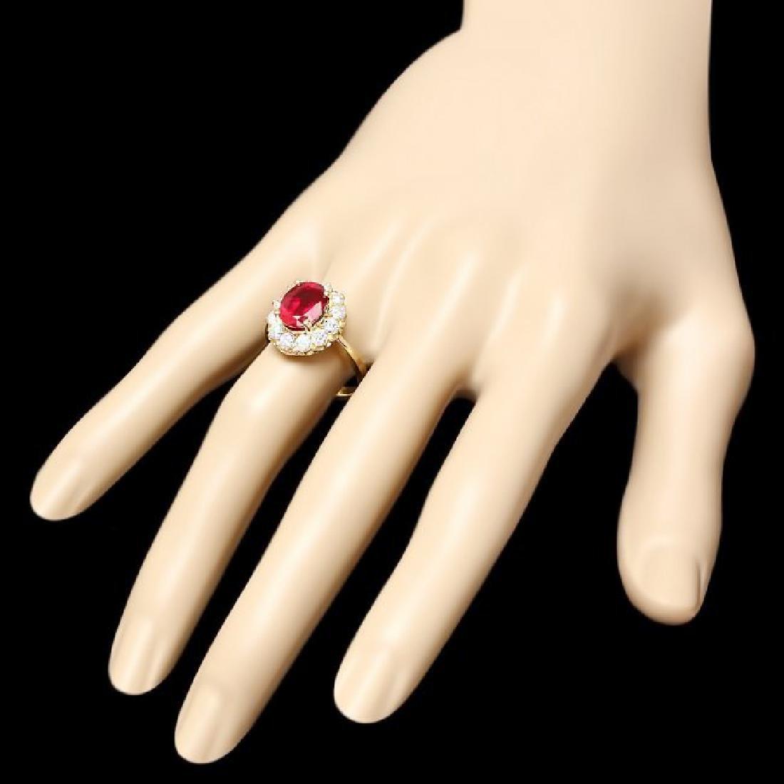 14k Yellow Gold 3.61ct Ruby 1.05ct Diamond Ring - 3