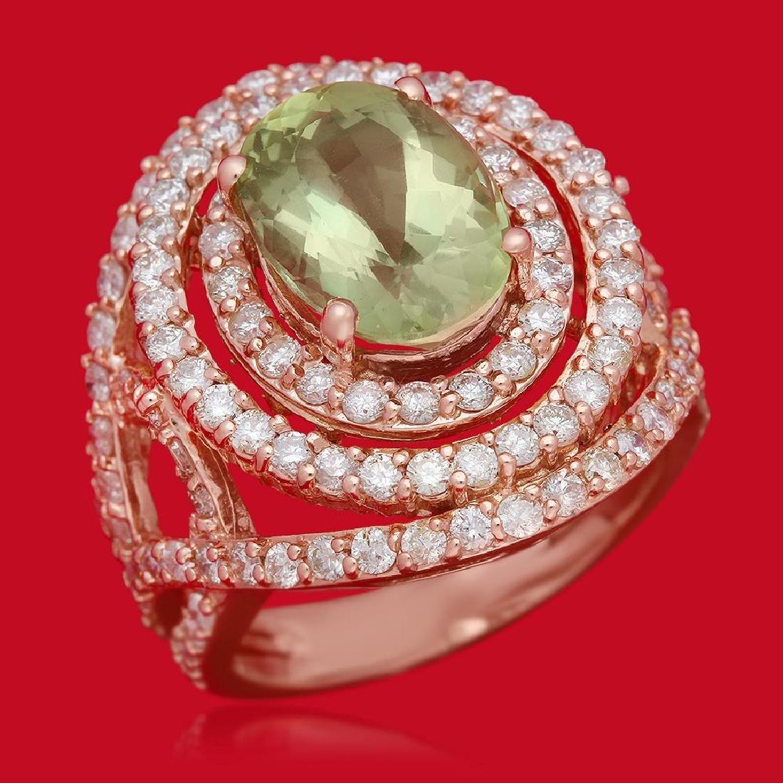 14K Gold 4.10ct Tourmaline 2.35ct Diamond Ring