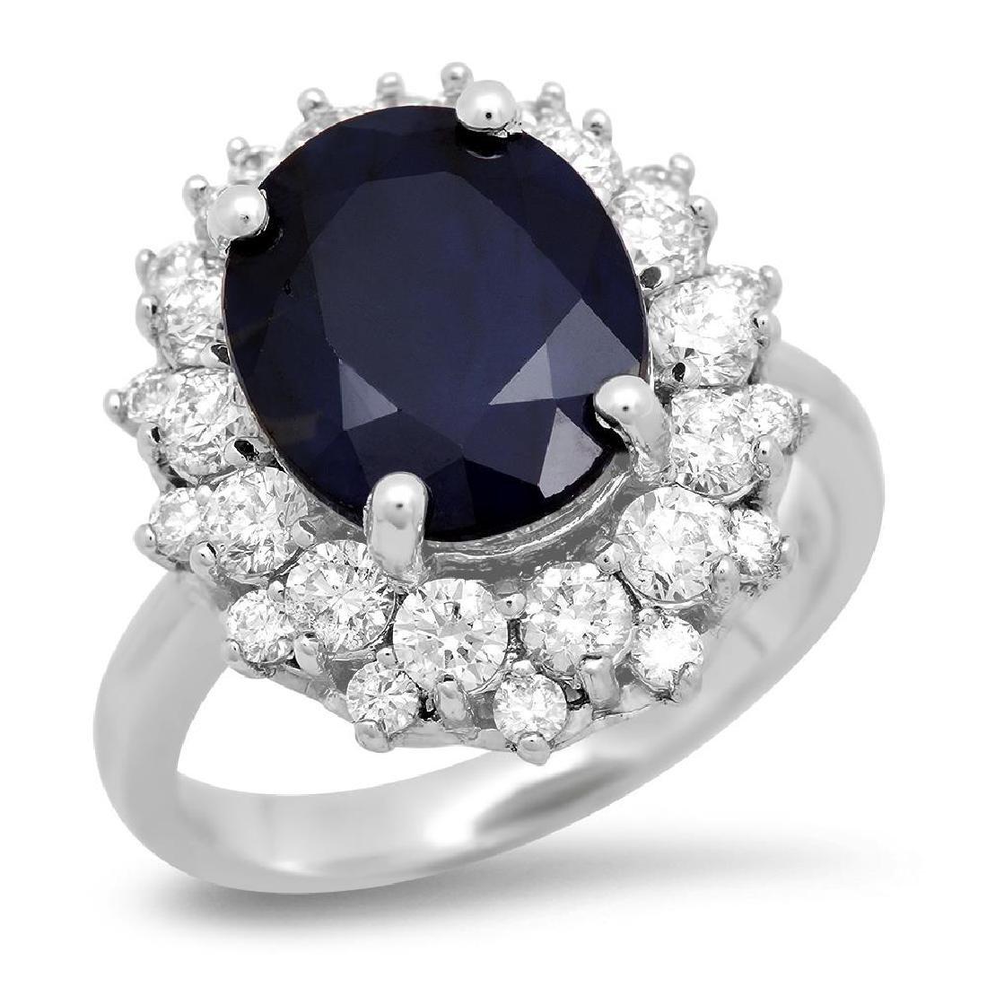 14K Gold 6.46ct Sapphire 1.42cts Diamond Ring