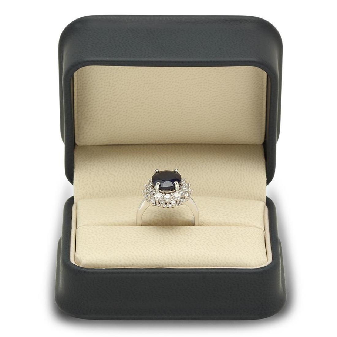 14K Gold 6.46ct Sapphire 1.42cts Diamond Ring - 4
