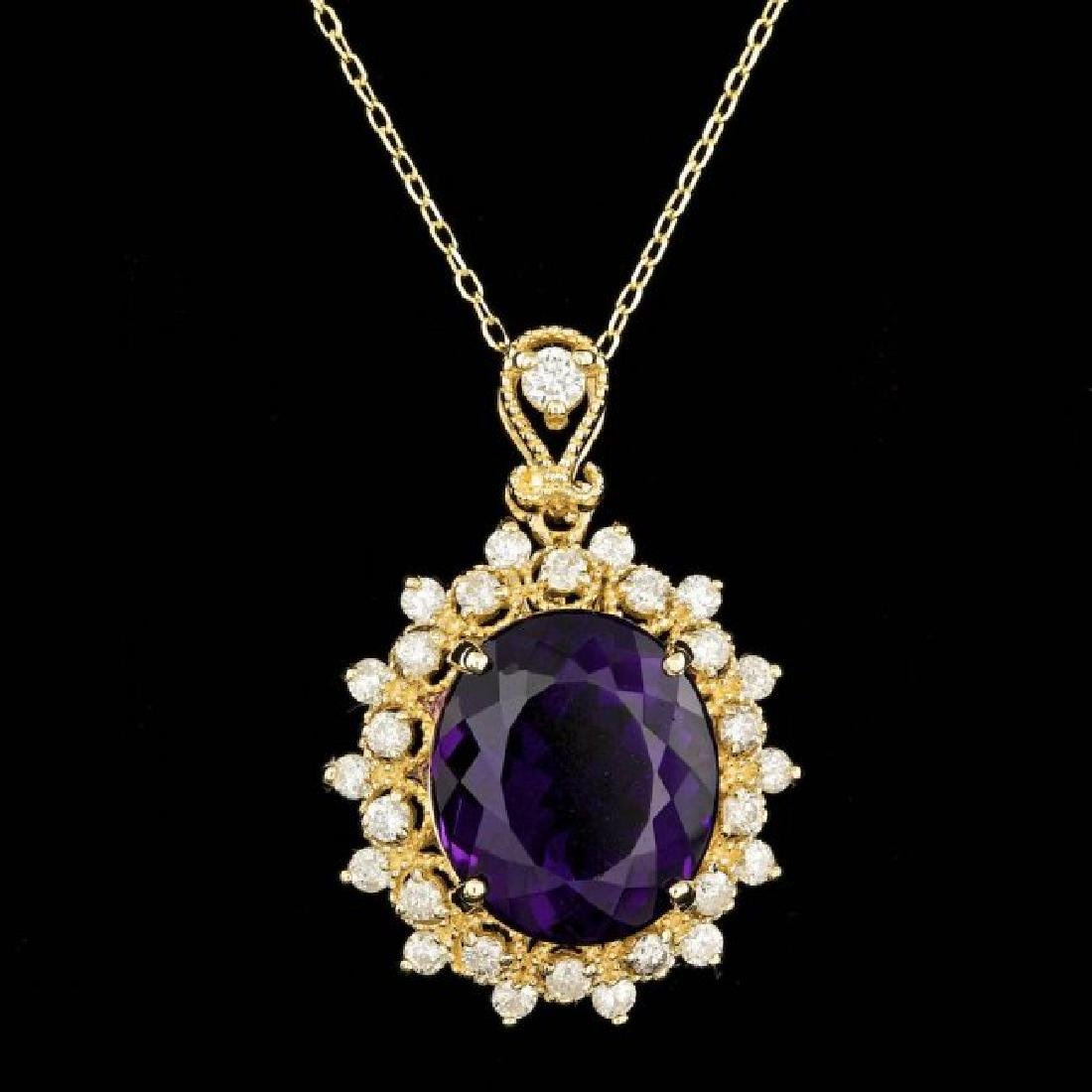 14k Gold 8.00ct Amethyst 0.90ct Diamond Pendant