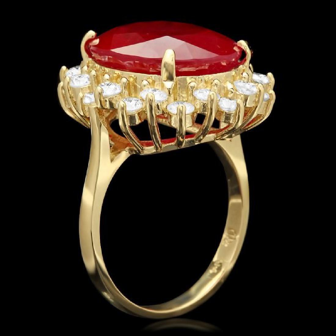 14k Yellow Gold 14ct Ruby 1.50ct Diamond Ring - 2