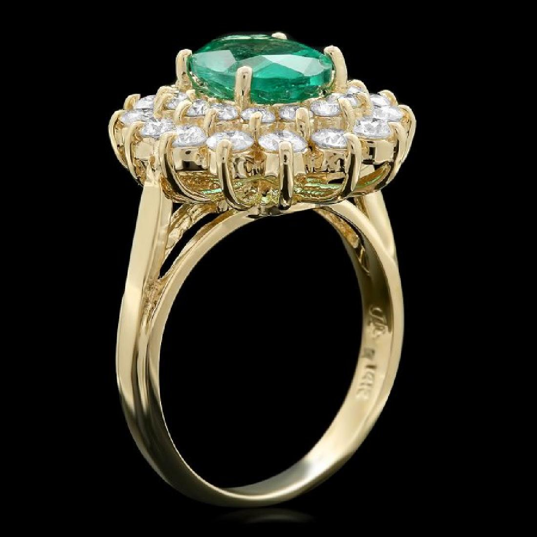 14k Gold 1.50ct Emerald 1.35ct Diamond Ring - 2