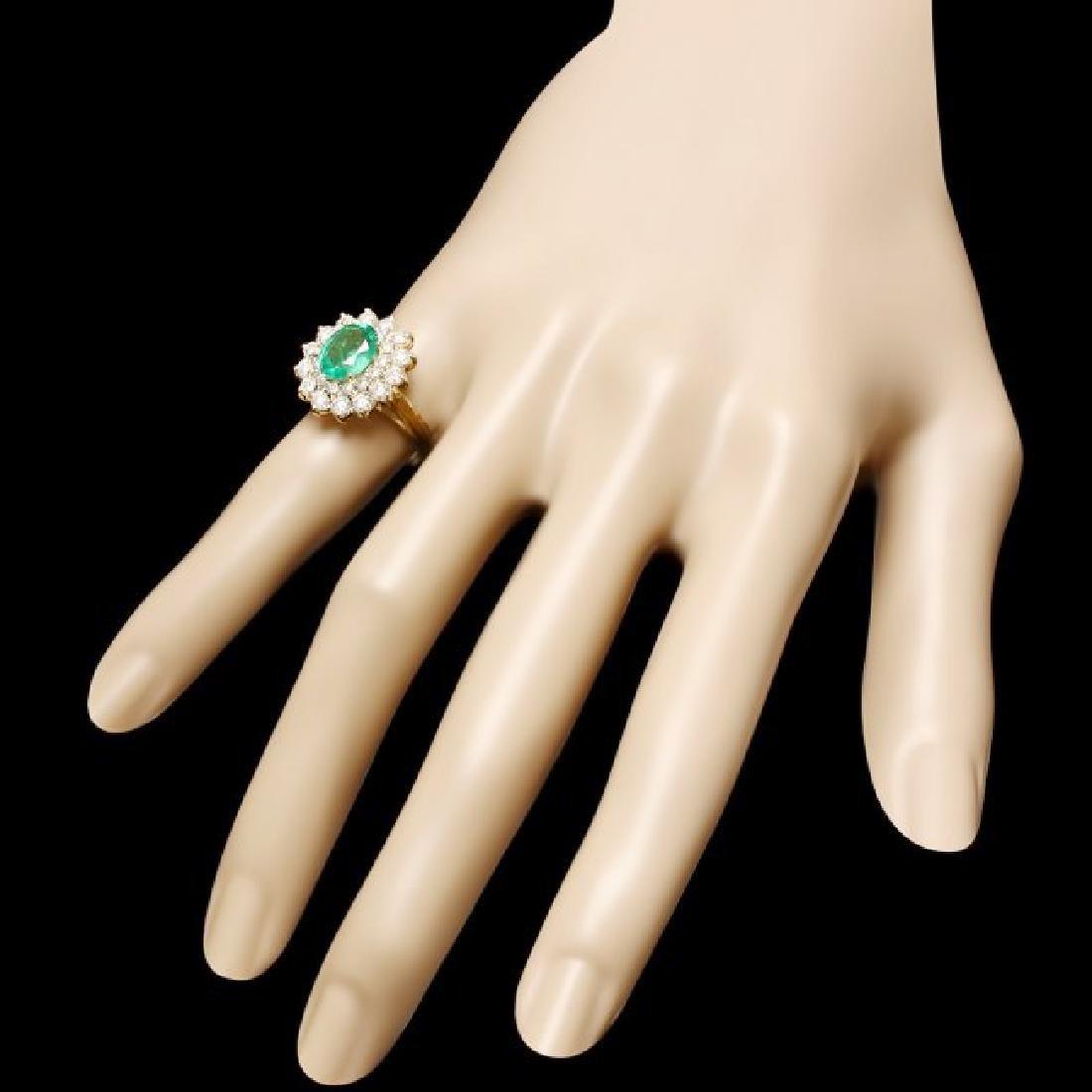 14k Gold 1.50ct Emerald 1.35ct Diamond Ring - 3