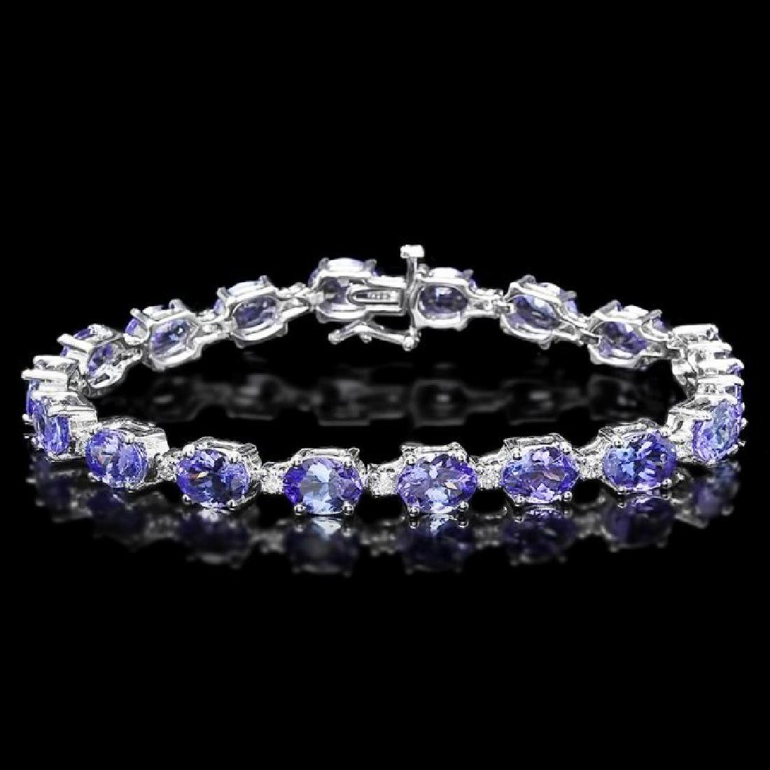 14k 19.50ct Tanzanite 0.80ct Diamond Bracelet