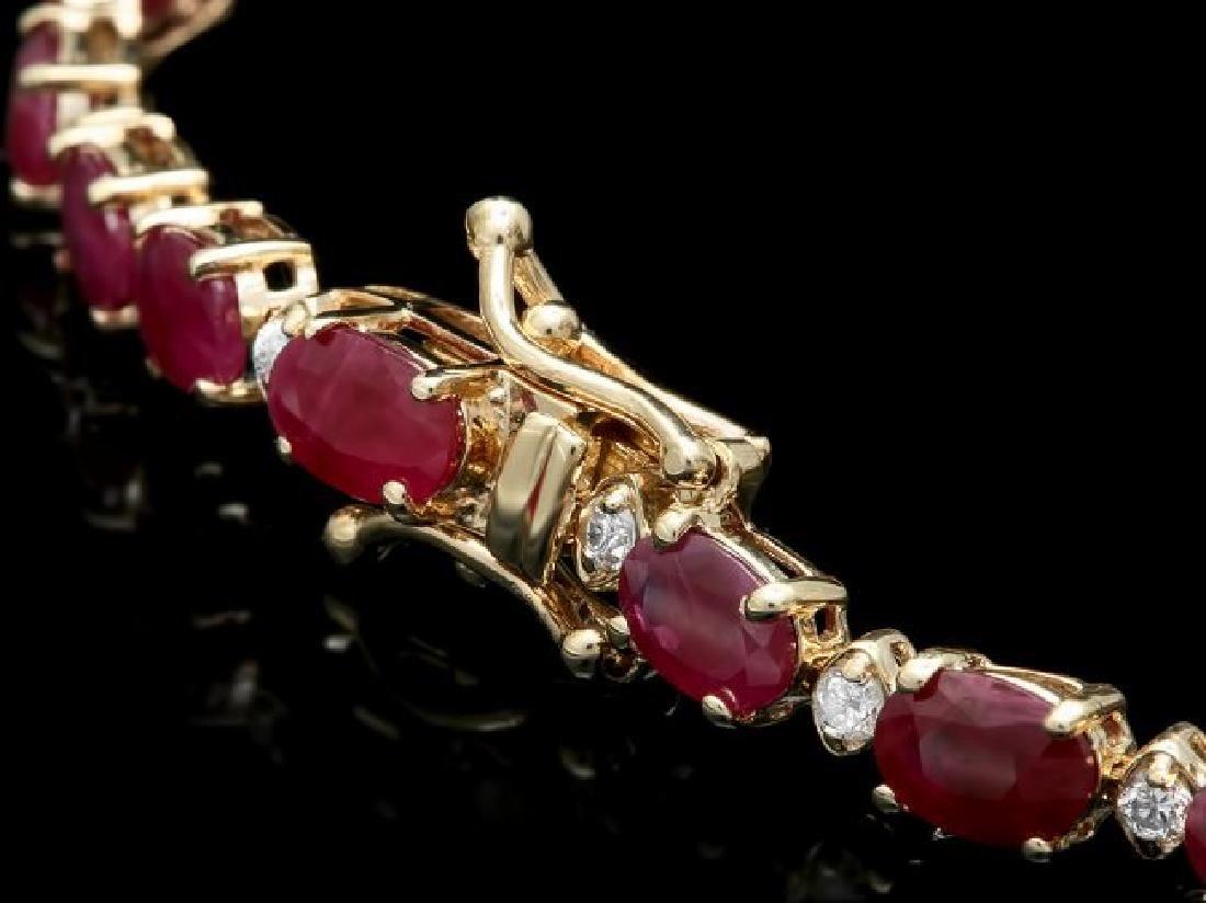 14k Gold 12.00ct Ruby 0.60ct Diamond Bracelet - 2