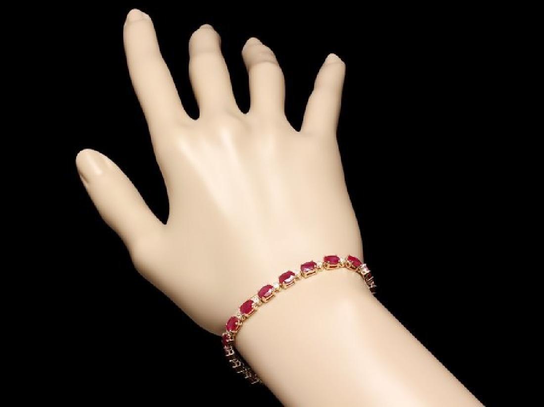 14k Gold 12.00ct Ruby 0.60ct Diamond Bracelet - 3