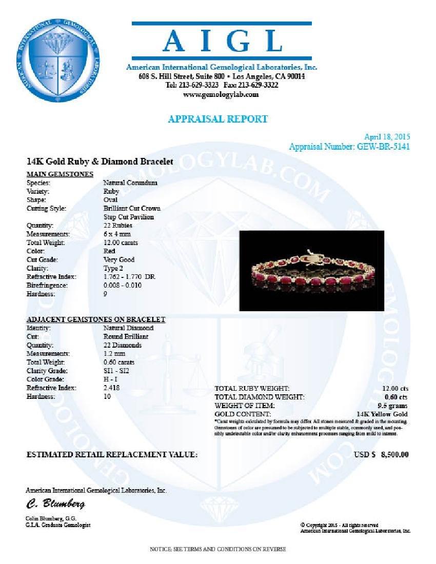 14k Gold 12.00ct Ruby 0.60ct Diamond Bracelet - 5