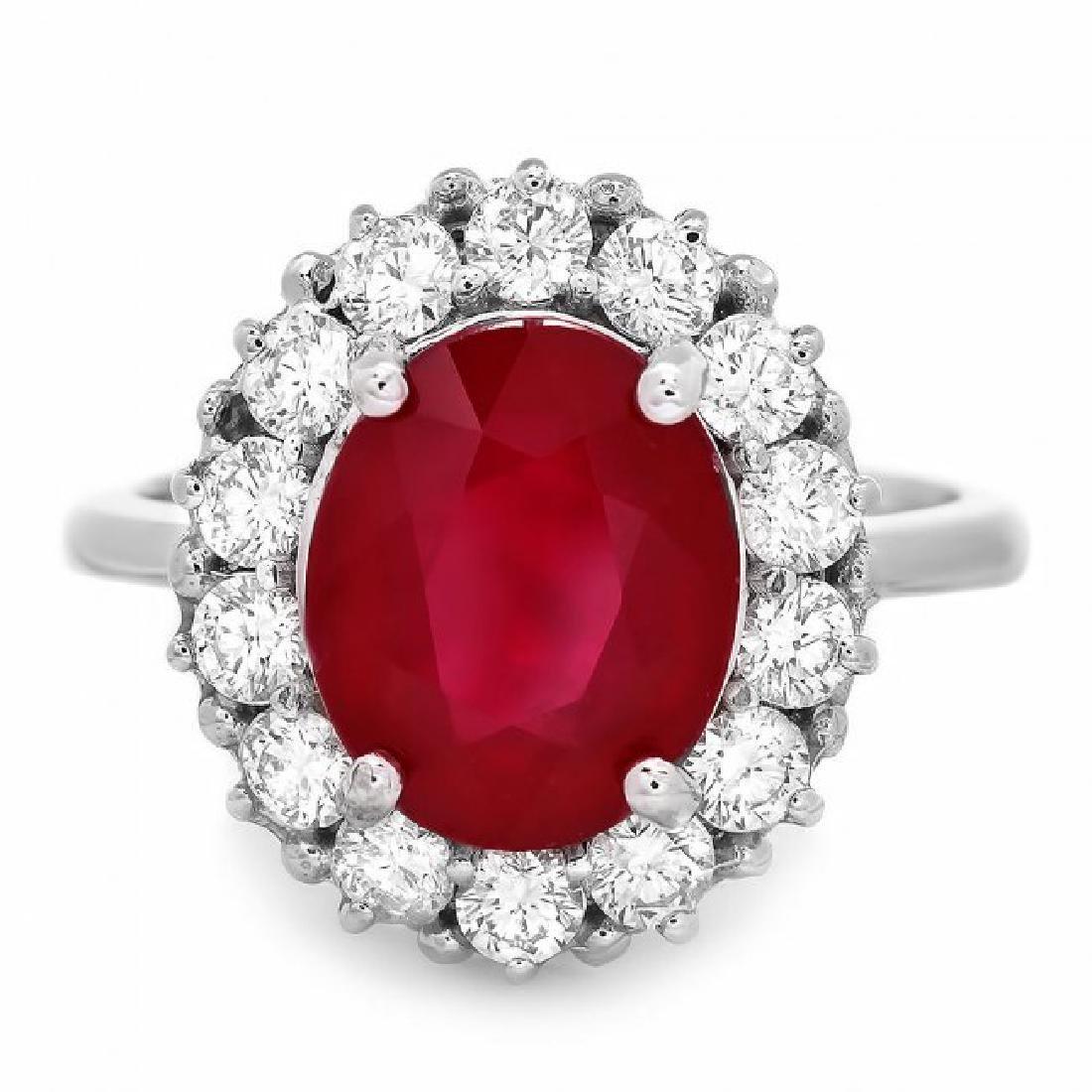 14k White Gold 5.00ct Ruby 1.00ct Diamond Ring - 2