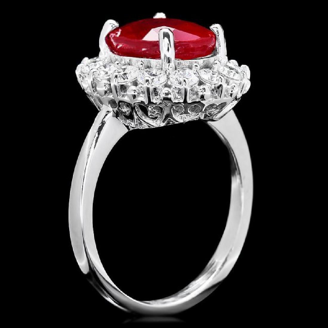 14k White Gold 5.00ct Ruby 1.00ct Diamond Ring - 3