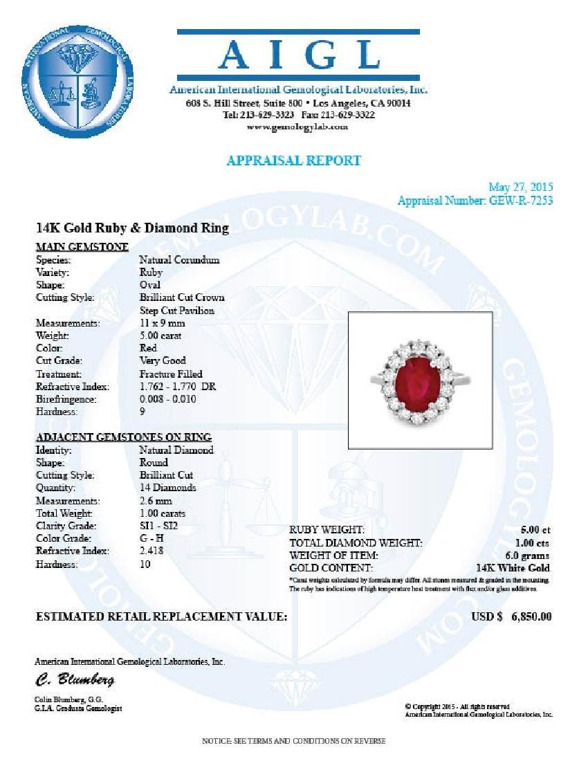 14k White Gold 5.00ct Ruby 1.00ct Diamond Ring - 5