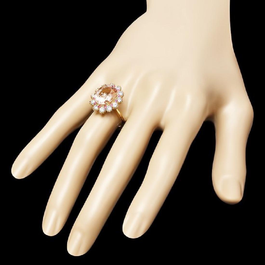 14k Gold 4.70ct Morganite 1.00ct Diamond Ring - 3
