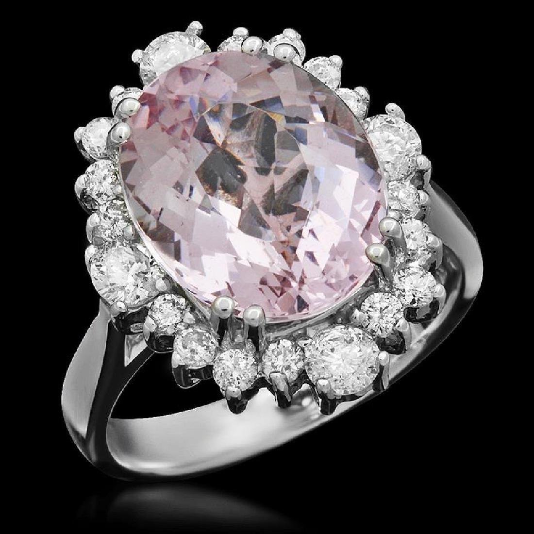 14k Gold 5.21ct Morganite 1.10ct Diamond Ring