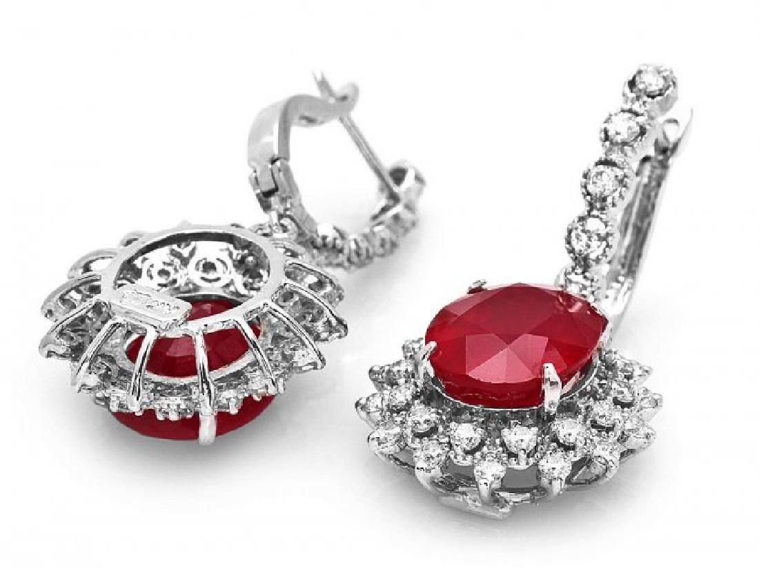 14k Gold 14.15ct Ruby 1.80ct Diamond Earrings - 2