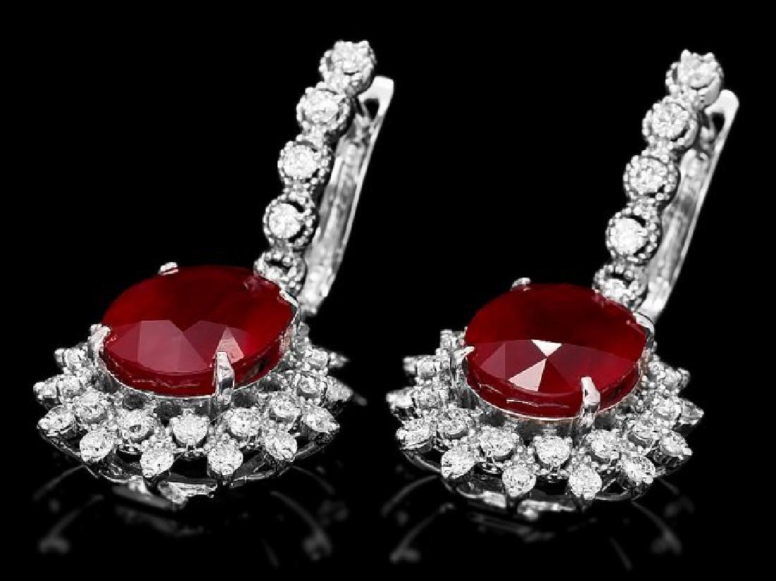 14k Gold 14.15ct Ruby 1.80ct Diamond Earrings - 3