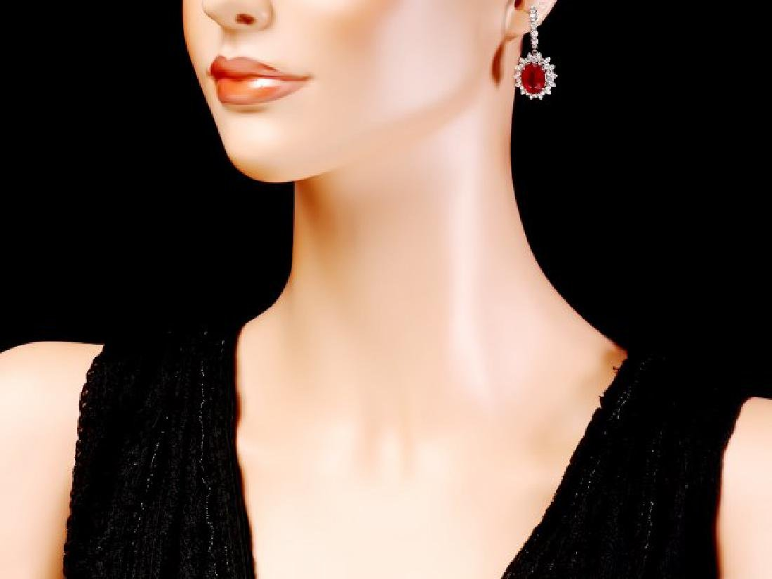 14k Gold 14.15ct Ruby 1.80ct Diamond Earrings - 4