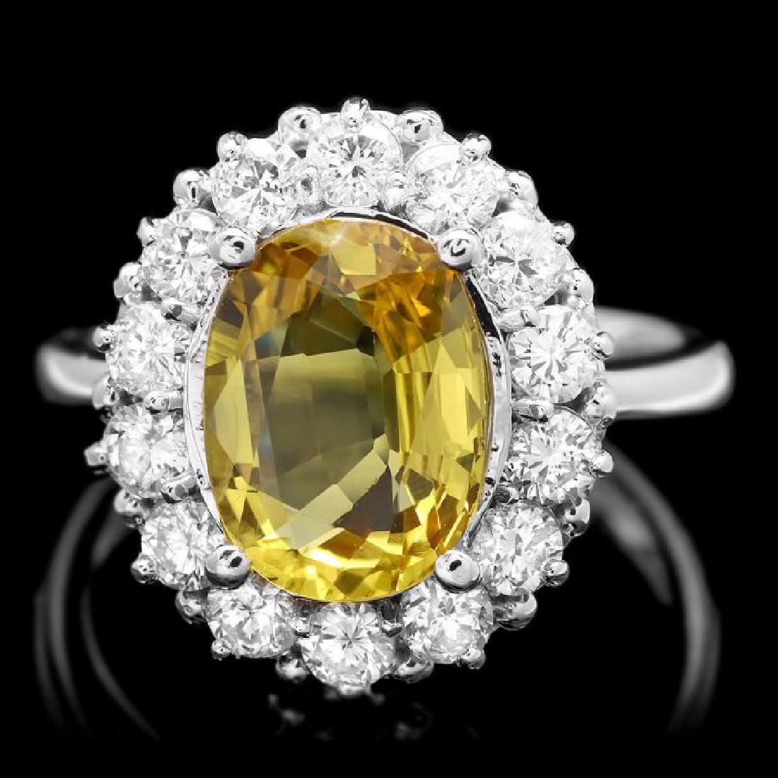 14k Gold 3.40ct Sapphire 1.10ct Diamond Ring