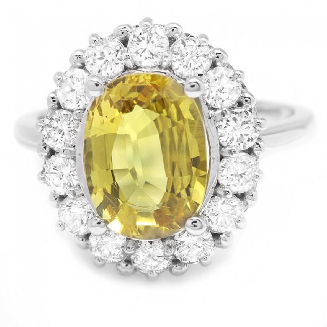 14k Gold 3.40ct Sapphire 1.10ct Diamond Ring - 2