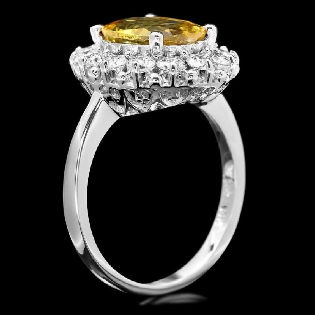 14k Gold 3.40ct Sapphire 1.10ct Diamond Ring - 3