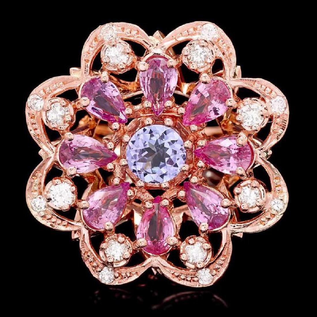 14k Rose 1.00ct Tanzanite 0.75ct Diamond Ring