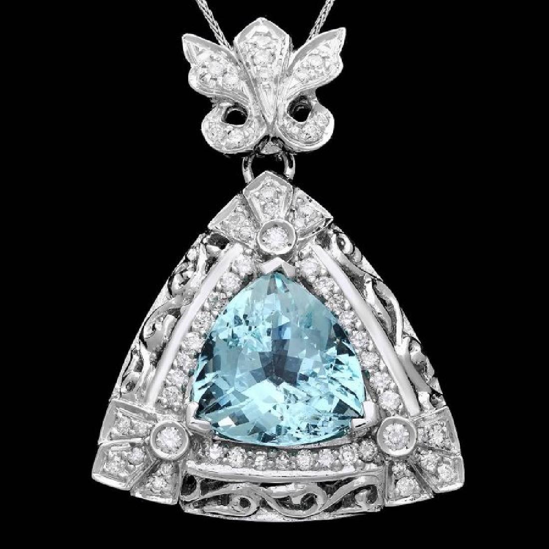 14k W Gold 10ct Aquamarine 1.35ct Diamond Pendant