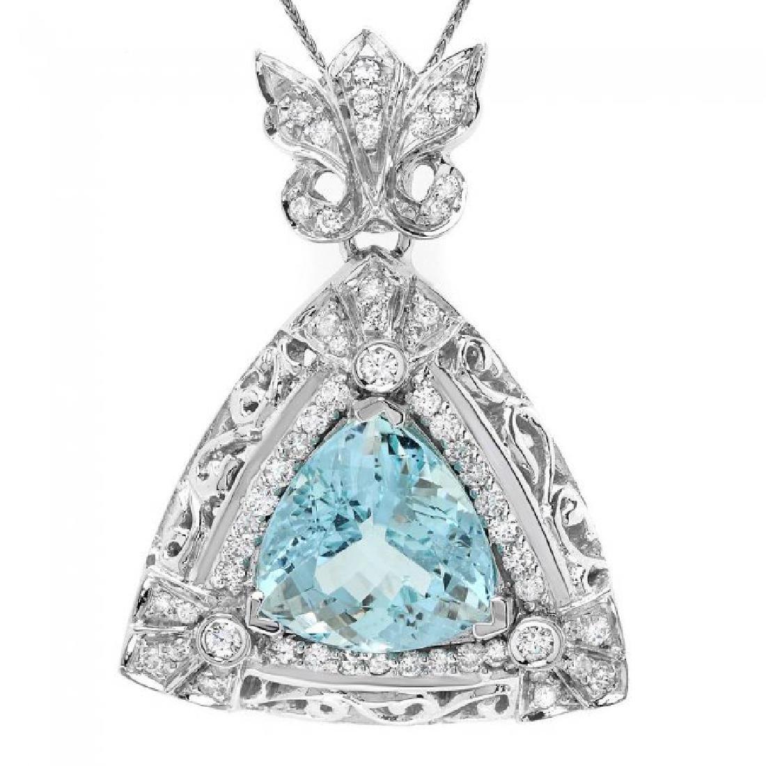14k W Gold 10ct Aquamarine 1.35ct Diamond Pendant - 2