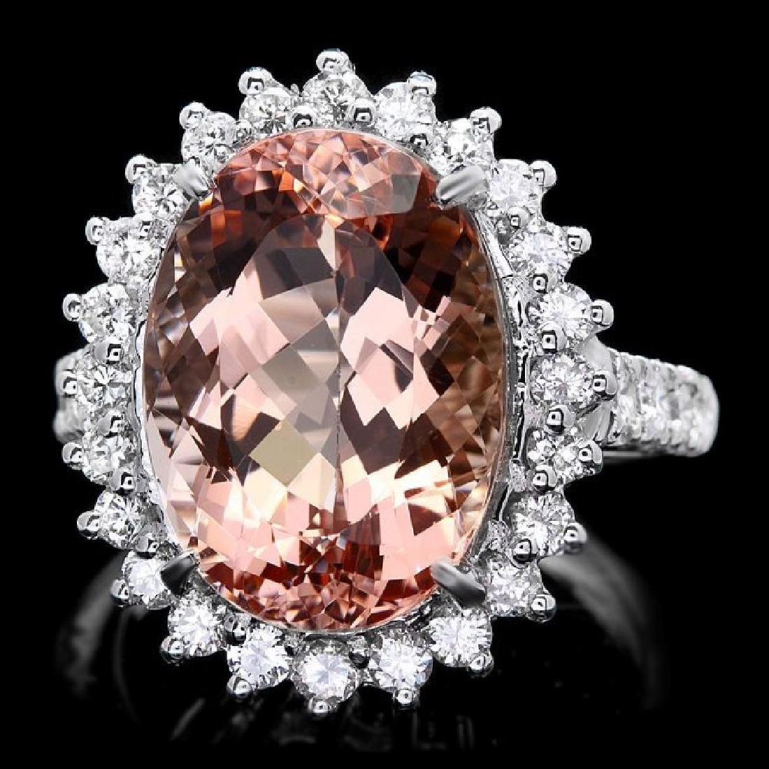 14k Gold 10.00ct Morganite 1.30ct Diamond Ring