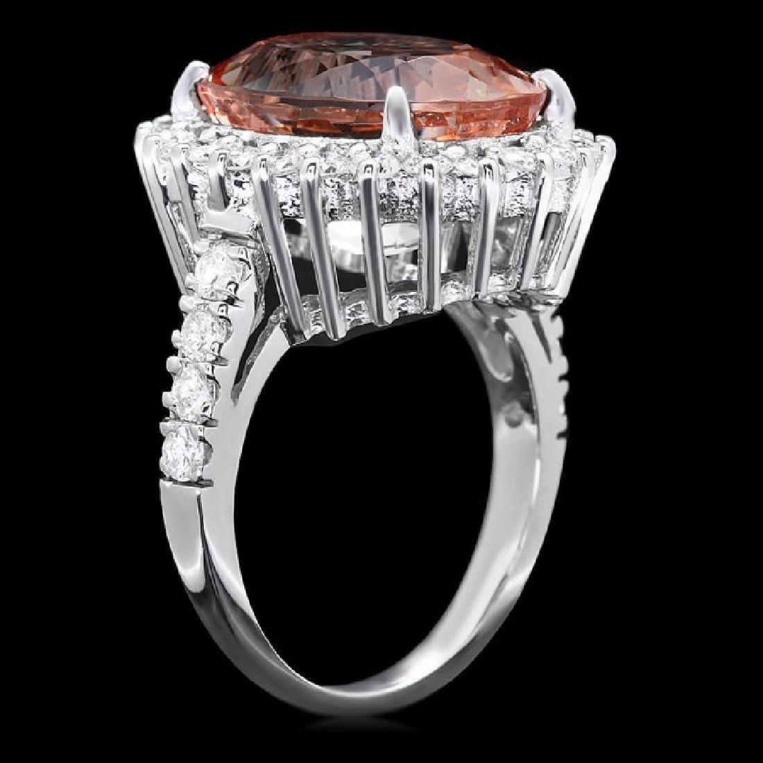 14k Gold 10.00ct Morganite 1.30ct Diamond Ring - 2