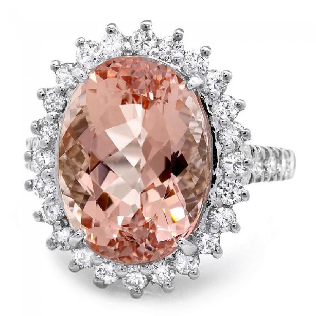 14k Gold 10.00ct Morganite 1.30ct Diamond Ring - 3