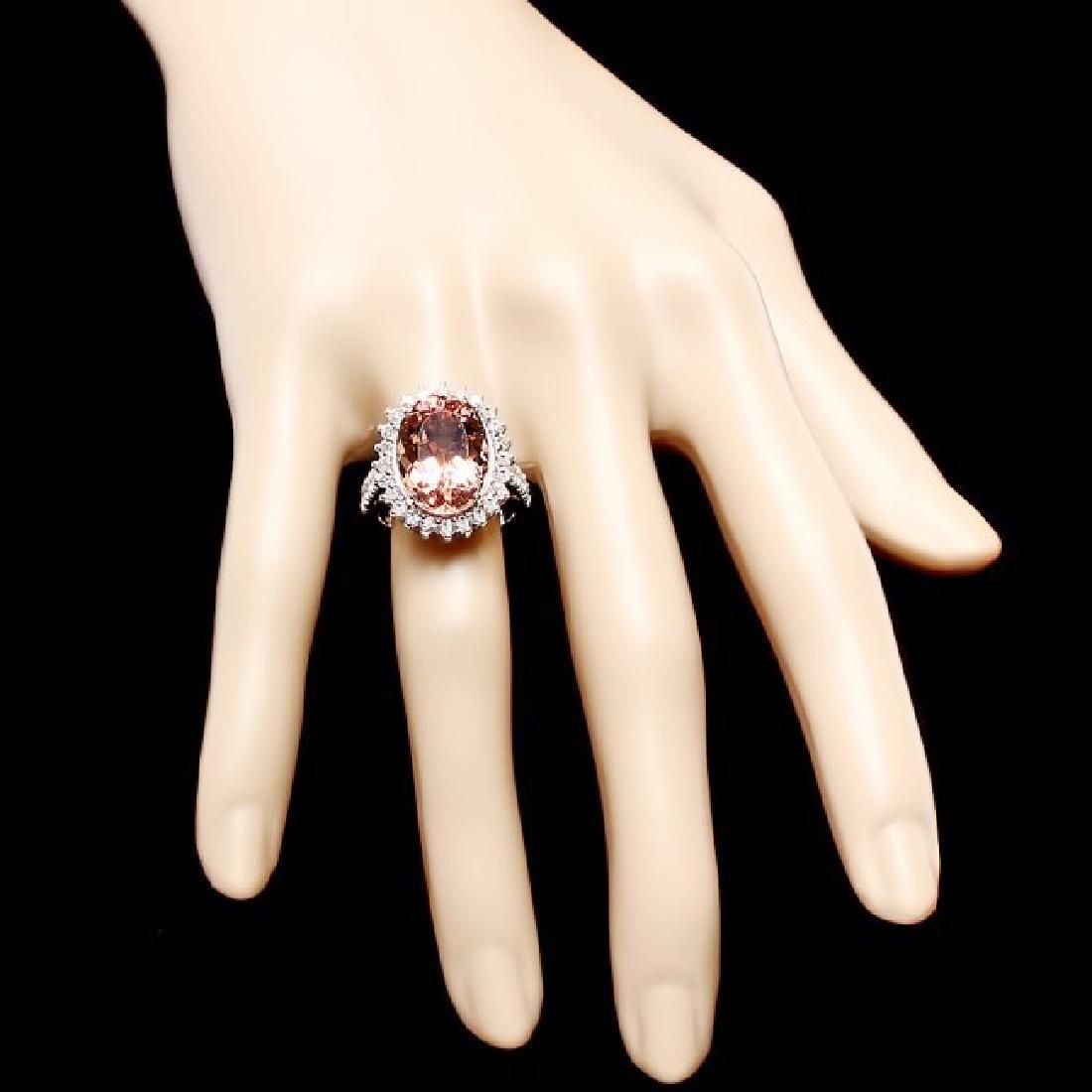 14k Gold 10.00ct Morganite 1.30ct Diamond Ring - 4