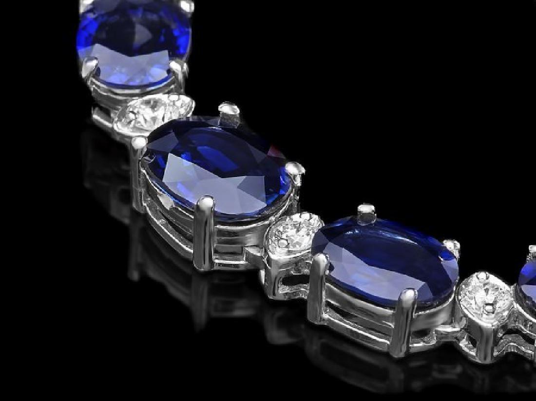 14k Gold 37.00ct Sapphire 1.60ct Diamond Necklace - 2