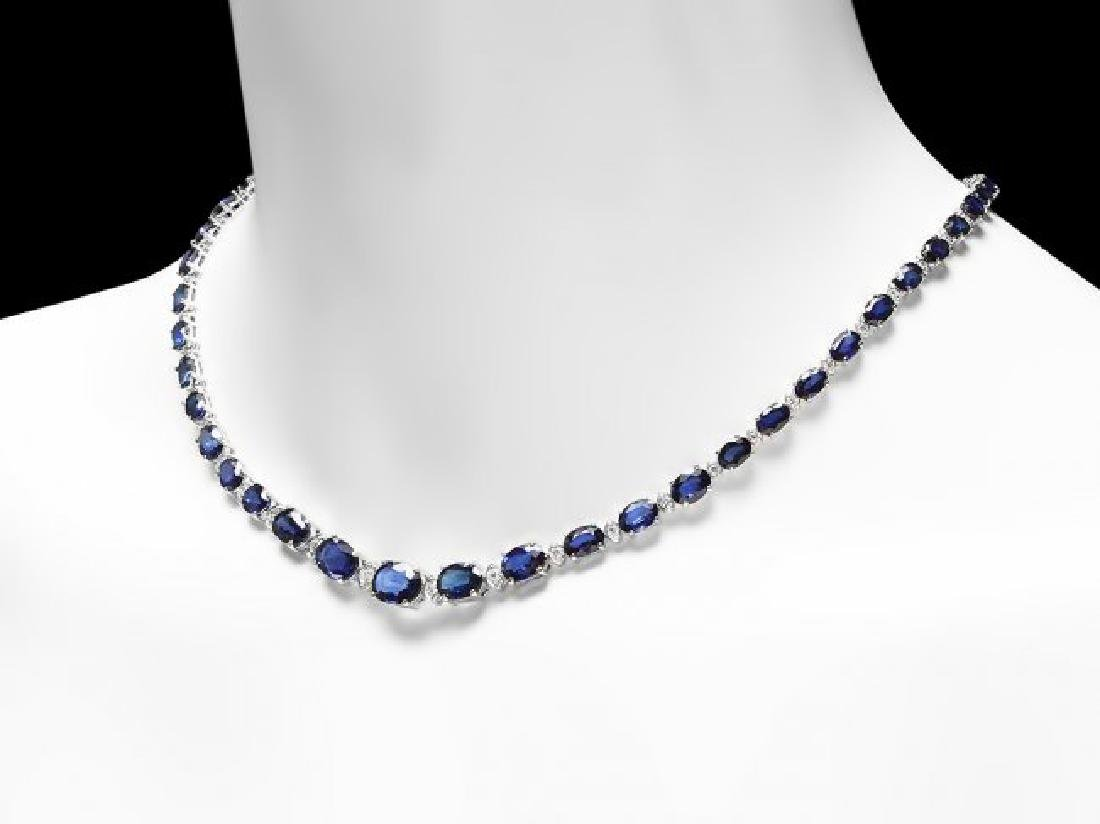 14k Gold 37.00ct Sapphire 1.60ct Diamond Necklace - 4