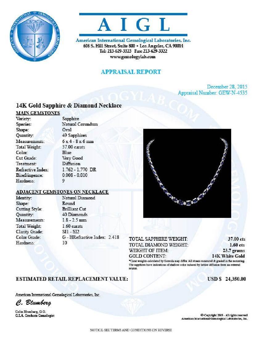 14k Gold 37.00ct Sapphire 1.60ct Diamond Necklace - 5