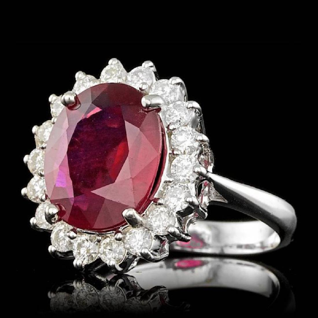 14k White Gold 5.00ct Ruby 0.85ct Diamond Ring - 2